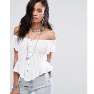 NEW Free People White Mint Julep Button Up Tee